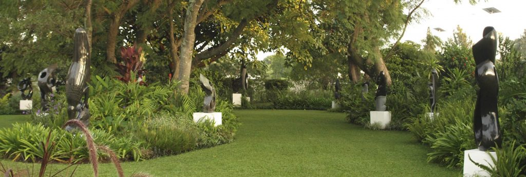 wide view of the Shona Sculpture Gallery garden