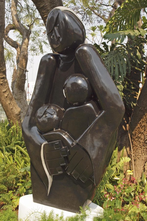 Shona stone sculpture Protective Mother by Edward Chiwawa - front right