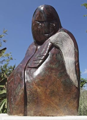 Shona stone sculpture Fortune Teller by Edward Chiwawa - front from below