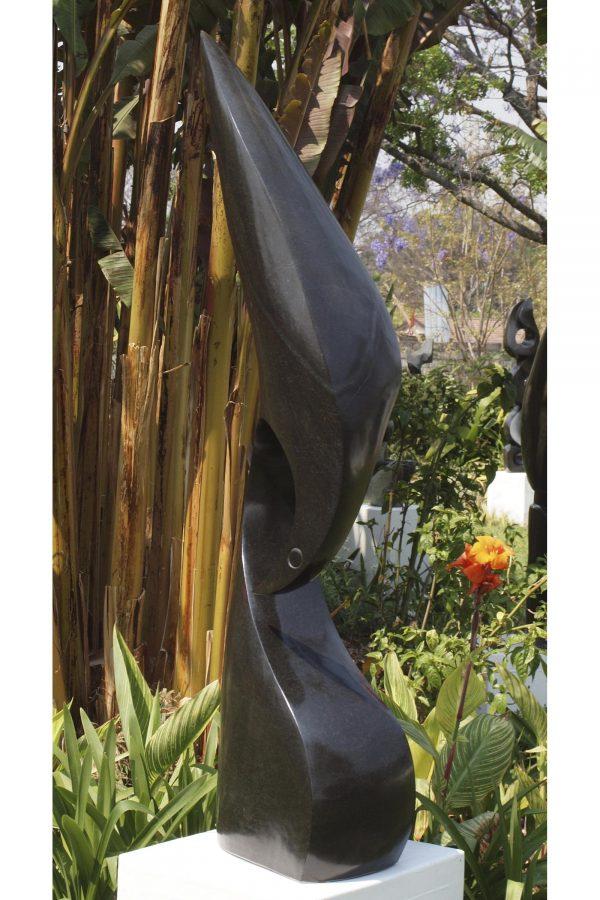 Abstract Shona stone sculpture Kingfisher by Nesbert Mukomberanwa front